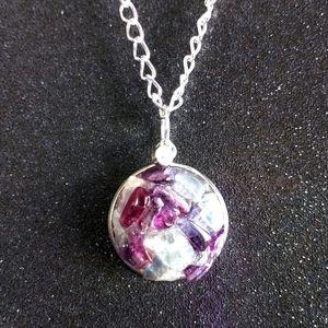 Green and purple fluorite druzy silver necklace